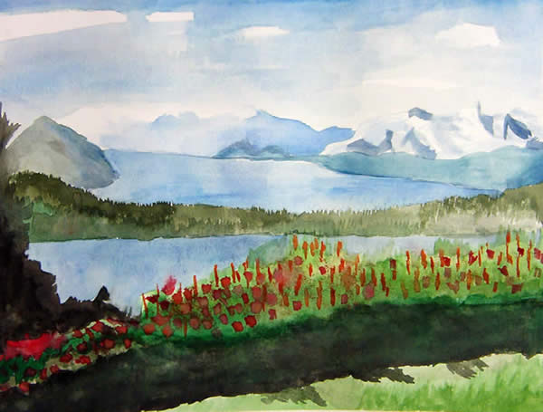 Watercolor landscape project for My first watercolor painting